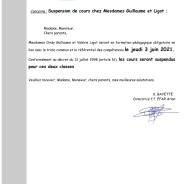 Suspension de cours chez Mesdames Guillaume et Ligot
