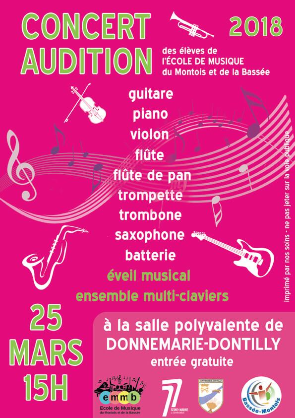 affiche de l'audition 2018 de l'école de musique