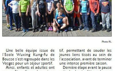 Article de journal du stage dans les Vosges