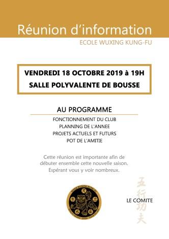 Assemblée Générale Réunion information 2019 Ecole WUxing Kung-Fu