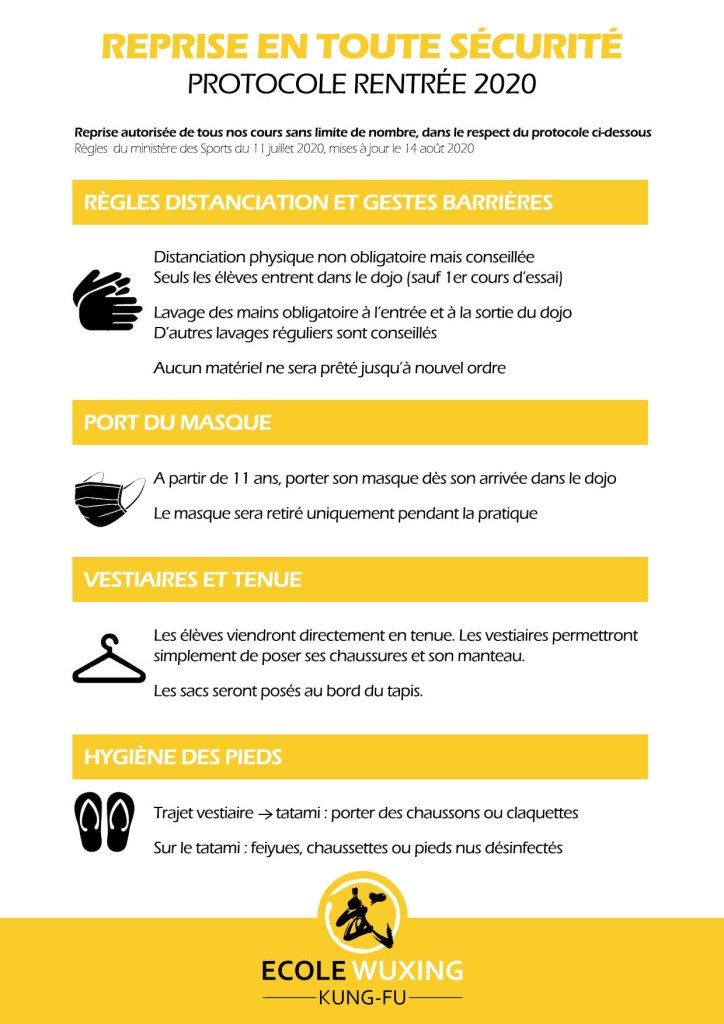 Protocole Sanitaire rentrée 2020 masque lavage hygiène distance kung-fu wushu dojo tenue
