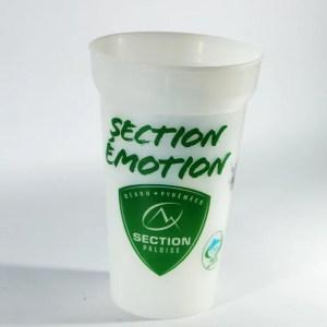 gobelet blanc translucide avec marquage logo section paloise