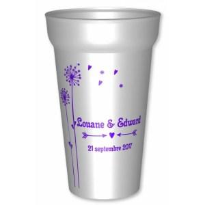 Gobelet mariage 25/33cl sur le thème des fleurs, en plastique réutilisable blanc translucide, personnalisé pour vo