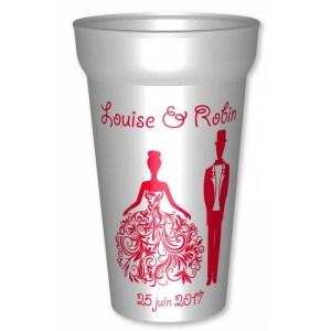 Gobelet mariage 25/33clsur le thème des princesses, en plastique réutilisable personnalisé pour votre mariage : Pe