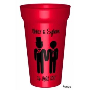 Gobelet couleuren plastique réutilisable personnalisé pour un mariage / pacs réussi : Vos prénoms et la date. - pe
