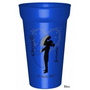 Gobelet en couleur 25/33cl, fabriqué enplastique réutilisable, personnalisable avec: Vosprénoms