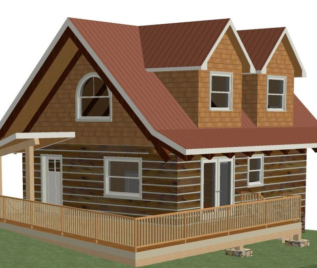D Model Image Of  Sqft Log Cabin With  Dormers