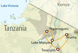 Tanzania Budget Safari map