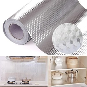 "Aluminum Foil Kitchen Stickers Decoration Sticker Self Adhesive Waterproof Wallpaper For Furniture 16"" x 78.7"""