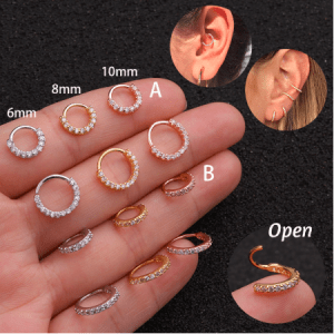 1PC 6-10mm Cz Nose Hoop Nostril Ring Flower Helix Cartilage Tragus Earring