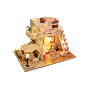 DIY Wooden House Model Pink Penthouse Handmade Wood House Educational Toys Creative Valentine's Day Birthday Gift