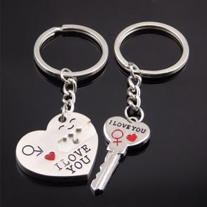 Fashion Heart Key Ring Silver Color Lovers Love Key Chain Valentine's Day Gift 1 Pair Couple I Love You Letter Keychain