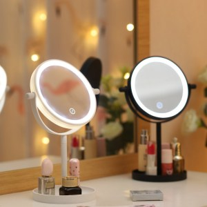 Portable 360° Rotaty 14 LED Light Makeup Mirrors Vanity Table Lamp Touch Screen