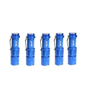 5Pcs Blue Color MECO Q5 500LM Multicolor Zoomable Mini LED Flashlight 14500/AA