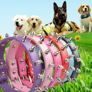 Color Single Row Rivet Durable Anti-bite Leather Collar Pet Dog Collar