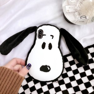 Small White Dog IPhoneXr Mobile Phone Shell Apple 6s Silicone Sleeve Plush Cloth Ear XS Max for 7/8 Plus