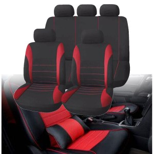 Universal Polyester Car Seat Cover Protector Full Set Front Back Headrest Red+Black