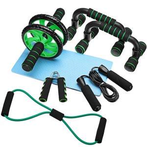 7 Pcs/Set Ab Rollers Kit Push-UP Bar Jump Rope Hand Gripper Knee Pad Resistance Band Exercise Training Home Gym Fitness Equipment