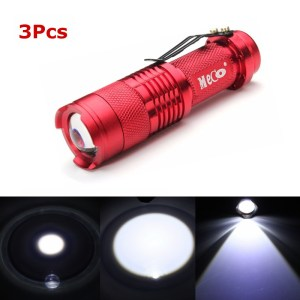 3Pcs Red Color MECO Q5 500LM Multicolor Zoomable Mini LED Flashlight 14500/AA
