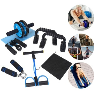KALOAD 8PCS Abdominal Training Set Non-slip AB Wheel Roller Resistance Band Jump Rope Fitness Gym Exercise Tools