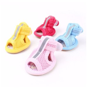 4pcs/lot Cool Pet Dog Summer Gridding Shoes Mesh Breathable Casual Shoes Sandal Soft Candy Colors Anti-Slip Mesh Sandals