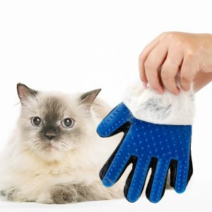 Doglemi Pet Shedding Grooming Gloves for Gentle and Efficient Pet Dog Cat Grooming Blue Color