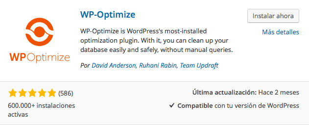 plugin wp optimize 1