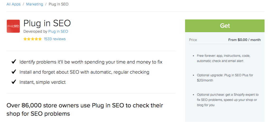 Plug in SEO Shopify