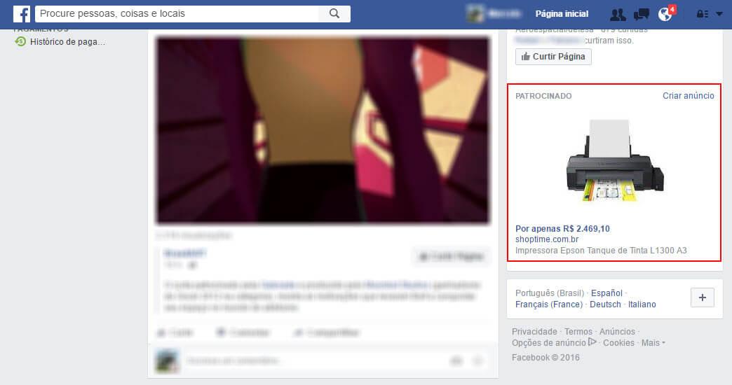 Produto recém-pesquisado e visitado no site Shoptime.com.br aparece logo em seguida como anúncio no Facebook.