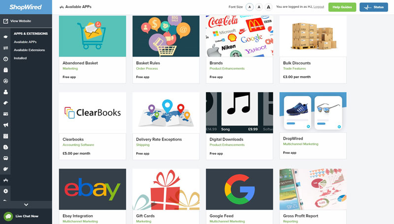 ShopWired App Selection