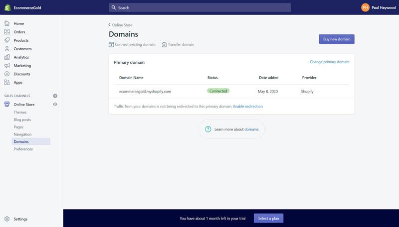 Shopify Add Domain Name