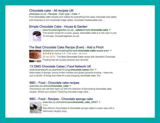 chocolate cake results