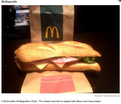 France McDonald's McBaguette from Bloomberg