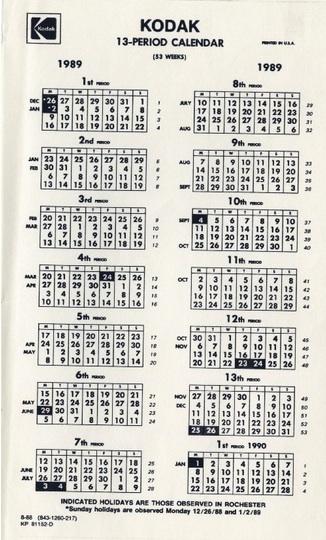 Kodak enjoyed positive externalities from a 13 month calendar.