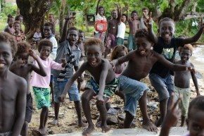 Children from Roviana, a remote saltwater lagoon region in western Solomon Islands.