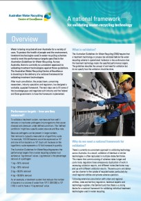 Australian Water Recycling Centre of Excellence, fact sheet example
