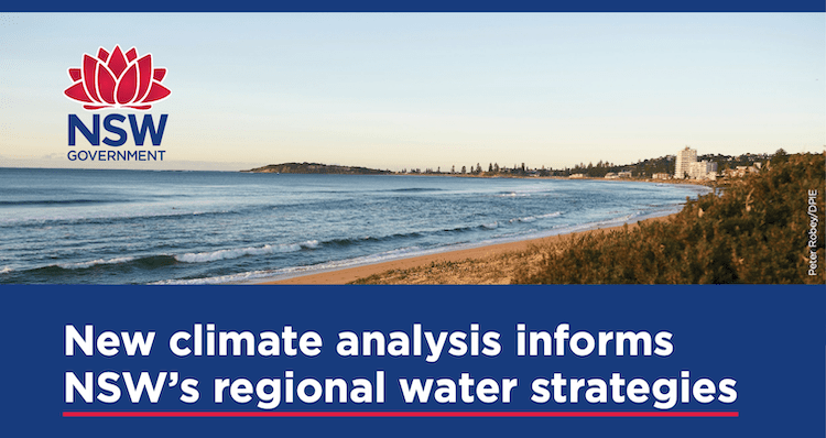 Screen shot of top of NSW Dept Planning, Industry and Environment brochure on climate analysis for regional water strategies