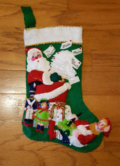 Stocking Santa and toys