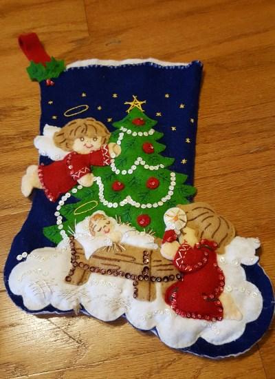 Stocking Nativity scene