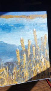 Acrylic painting of water and grasses