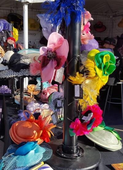Display of hats on rack
