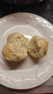 Gluten Free Roll split apart to show texture