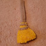Felt Broom with stitching for straw