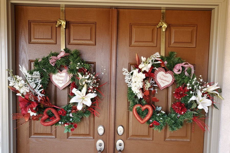 Double Valentine's Day Themed Wreaths on an entrance