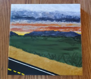 Acrylic painting landscape view from car window