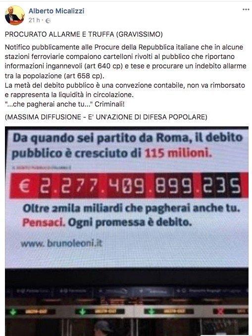 Alberto Micalizzi sulla campagna terroristica dell'Istituto Bruno leoni sul debito pubblico italiano