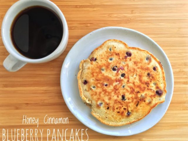 Honey Cinnamon Blueberry Pancakes