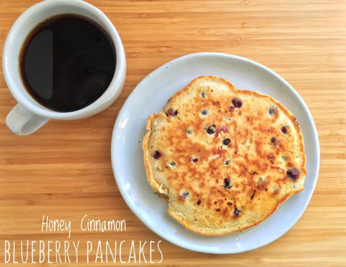 Honey Cinnamon Blueberry Pancakes