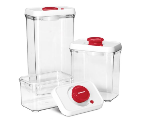 1. Cuisinart CFS-TC-S6R 6-Piece Set Fresh Edge Patented Vacuum-Seal Food Storage System, Red