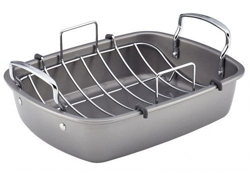 10. Circulon Nonstick Bakeware 17-Inch by 13-Inch Roaster with U-Rack